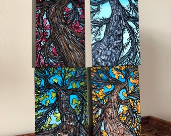 """Tree Lovers 4 Season New England Tree Collection - features 4 mini paintings each measures 3x6"""" - one of a kind set by Tracy Levesque"""