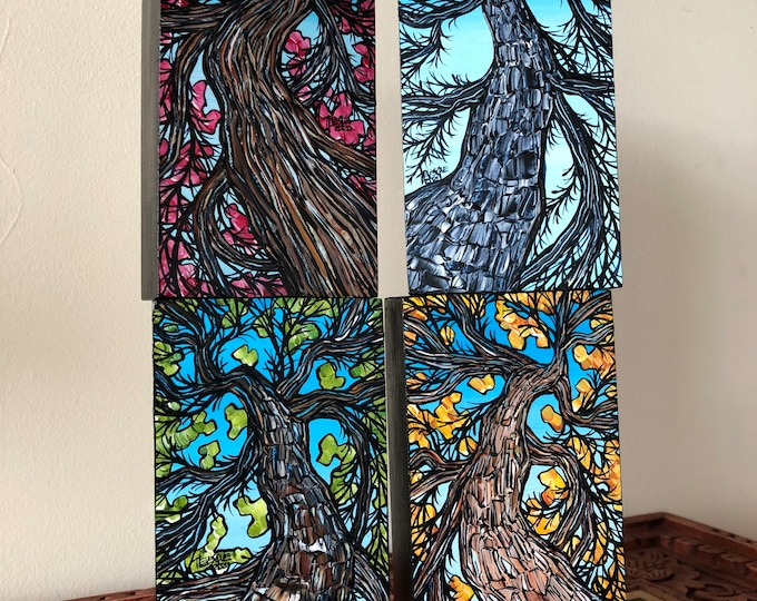 "Tree Lovers 4 Season New England Tree Collection - features 4 mini paintings each measures 3x6"" - one of a kind set by Tracy Levesque"