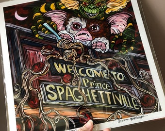 "Gremlins Take Over Lowell Spaghettiville 12x12"" metallic photographic print featuring artwork by Tracy Levesque"