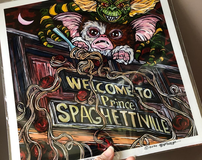 """Gremlins Take Over Lowell Spaghettiville 12x12"""" metallic photographic print featuring artwork by Tracy Levesque"""