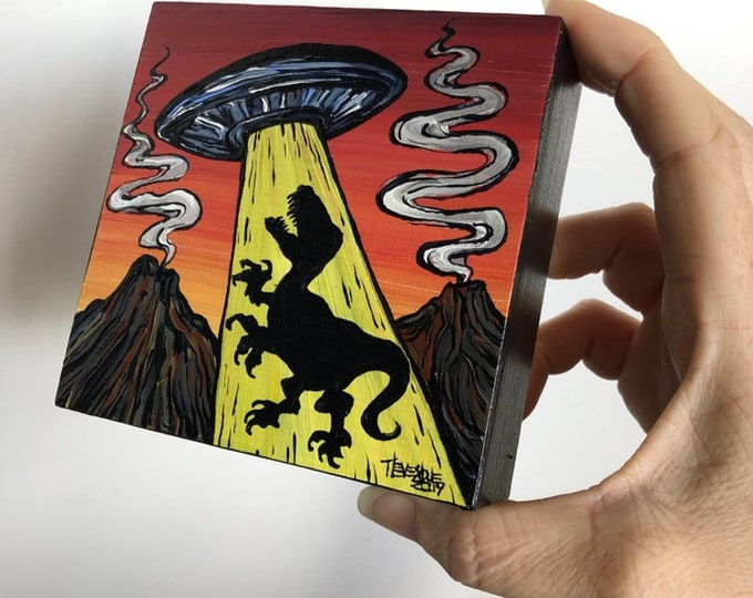 "4x4"" Mini original acrylic painting Dinosuar UFO Abduction by Tracy Levesque"