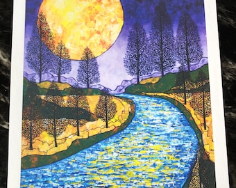 "Moon River - Harvest Moon 11x14"" fine art giclee print by Tracy Levesque"