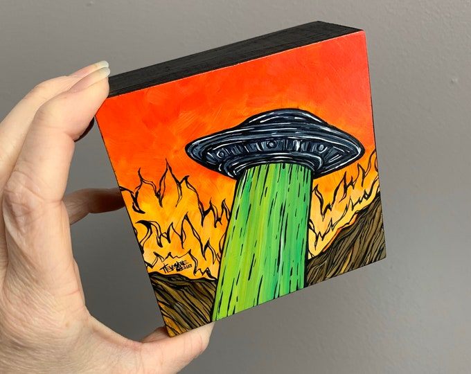 "4x4"" Flaming UFO Invasion original acrylic painting by Tracy Levesque"
