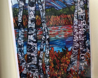 """Birches at Chocorua, White Moutains, NH 5x7"""" greeting card featuring artwork by Tracy Levesque"""