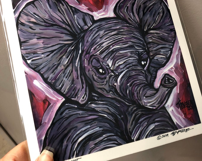 "8x8"" Print of ""Lucky Elephant"" by Tracy Levesque"
