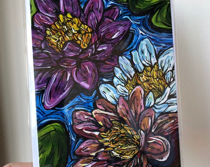 "5x7"" Waterlilies greeting card featuring artwork by Tracy Levesque"