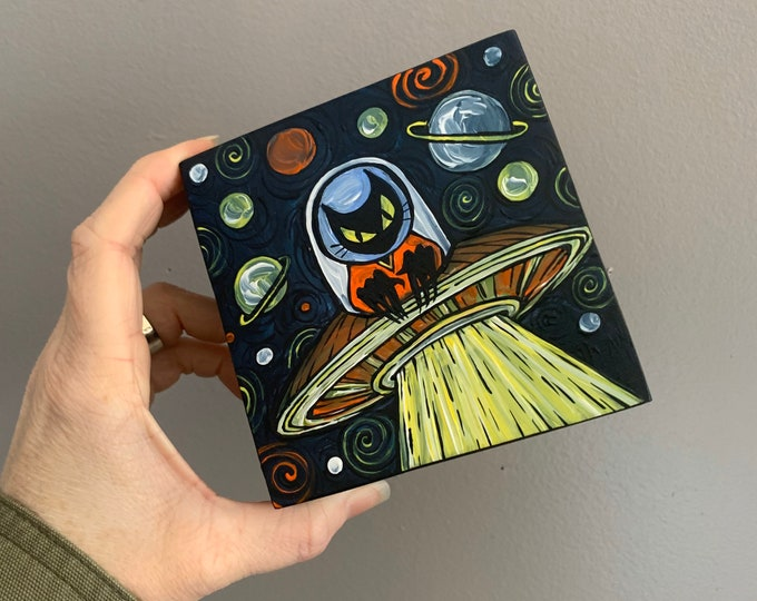 "4x4"" Intergalactic UFO Kitty original acrylic painting by Tracy Levesque"