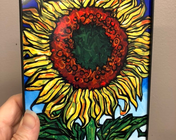 "Happy Sunflower 5x7"" framed dye sublimation print on aluminum by Tracy Levesque"