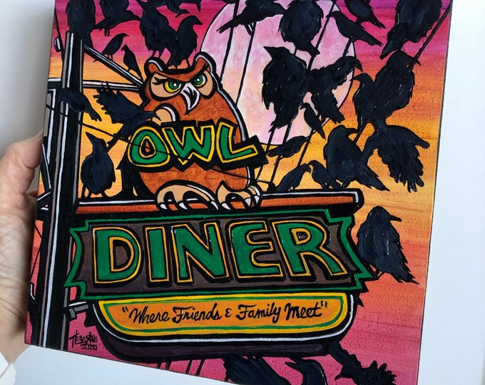 """The Birds Have A Bite at the Owl Diner Lowell Monster 8x8"""" original acrylic painting by Tracy Levesque"""