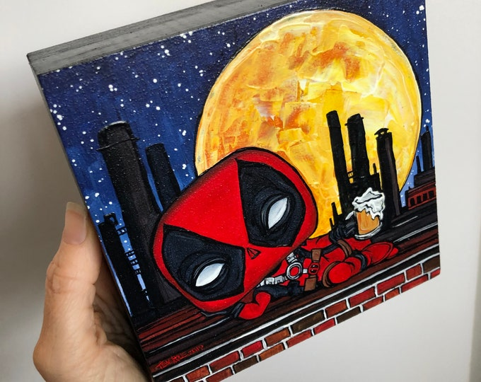 "6x6"" Deadpool Drinking a Beer Original Acrylic Painting By Tracy Levesque"