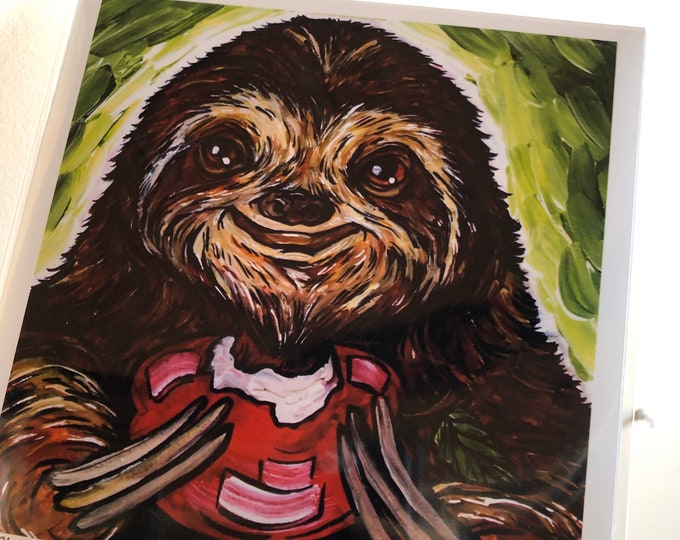 "8x8"" Sloth Eating an Apple Print by Tracy Levesque"