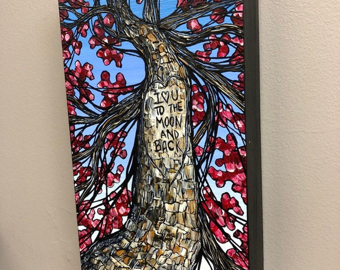 """Made-to-order Custom Initials or Quote Tree Trunk 6x12"""" Original Acrylic painting by Tracy Levesque"""