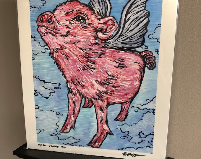"Flying Pig 11x14"" Limited Edition Metallic Print by Tracy Levesque"