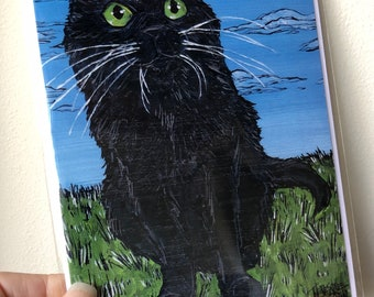 """Eye of the Black Cat, good luck, cat lover 5x7"""" greeting card featuring artwork by Tracy Levesque"""