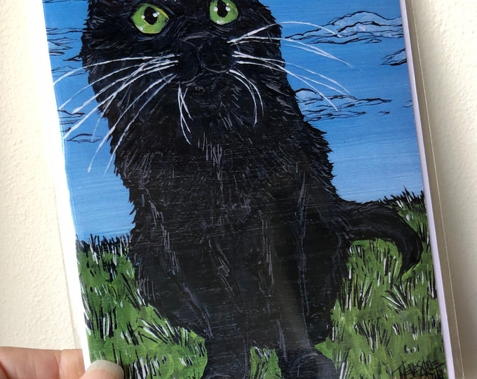 "Eye of the Black Cat, good luck, cat lover 5x7"" greeting card featuring artwork by Tracy Levesque"