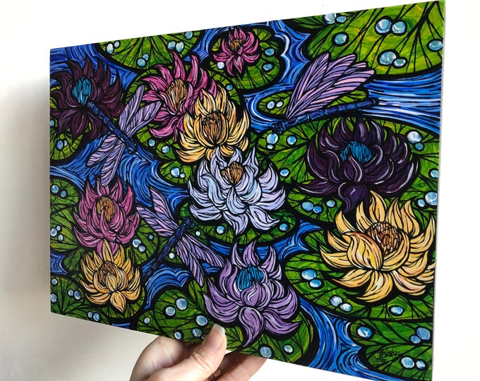 """9x12"""" Sea of Sacred Lotus Flowers original acrylic painting by Tracy Levesque"""