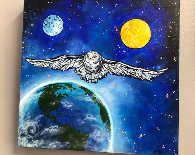 "Cosmic Owl, 16x16"" Original Acrylic Painting by Tracy Levesque"