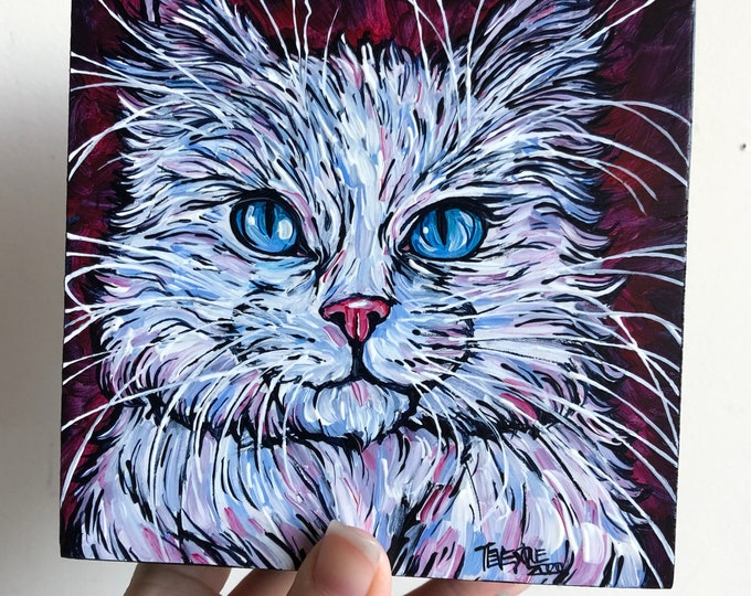 """5x5"""" Fluffy White Cat original acrylic painting by Tracy Levesque"""