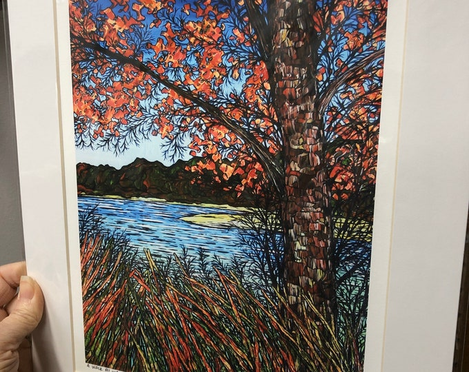 "11x14"" Matted Giclee Print A Walk at Walden Pond by Tracy Levesque (print size is approximately 8x10"" inside 11x14"" mat)"