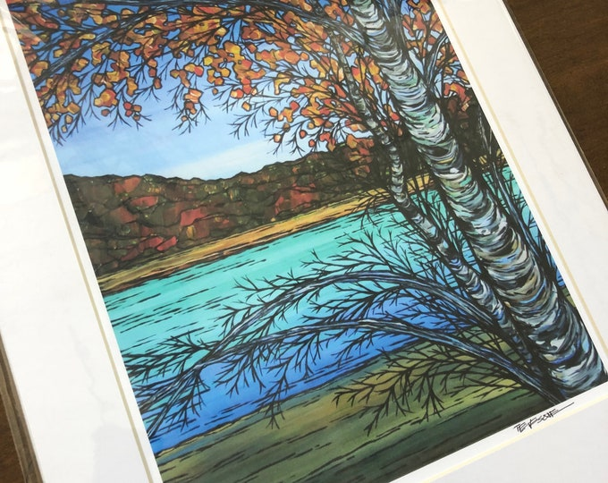 "Autumn Birch Pair at Walden Pond 11x14"" matted giclee print by Tracy Levesque"