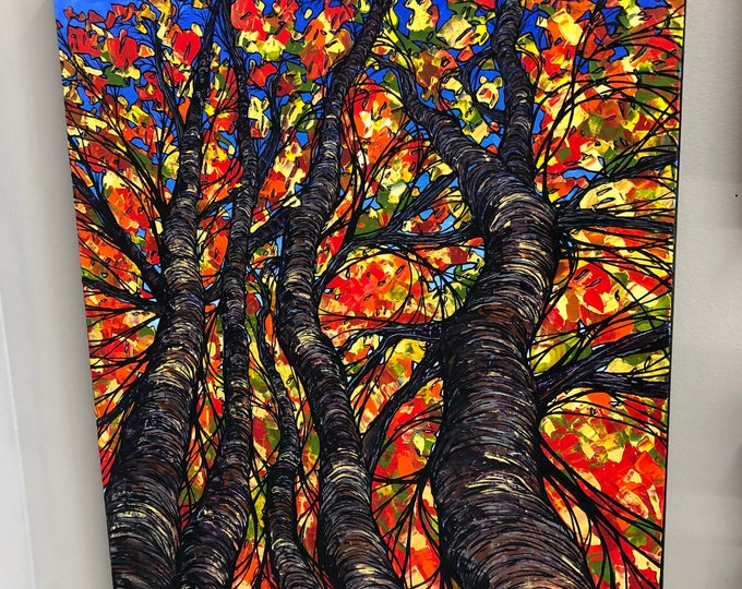 "18x24"" Autumn Assembly original acrylic painting by Tracy Levesque"