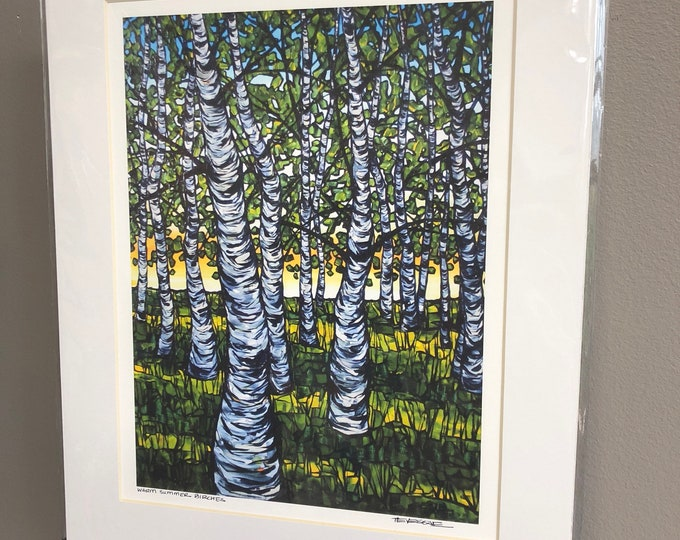 11x14 Matted Giclee Print of Warm Summer Birches by Tracy Levesque