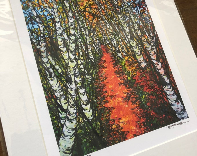 "11x14 Matted Giclee Print of Autumn Birch Path by Tracy Levesque (print size is approximately 8x10"" inside 11x14"" mat)"