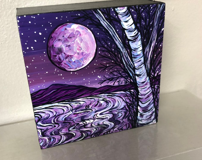"Purple Birch Moon 4x4"" original acrylic painting by Tracy Levesque"