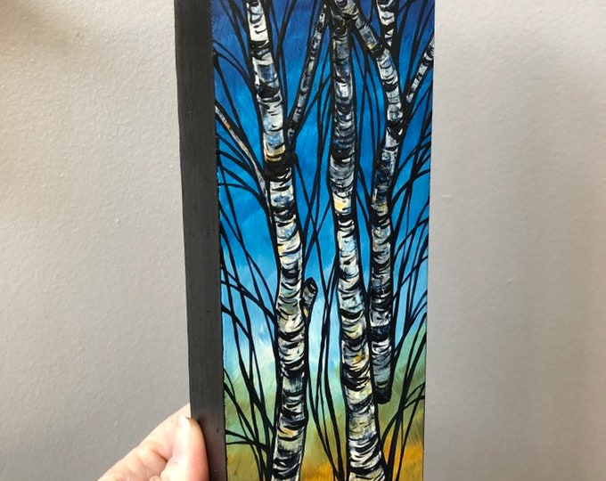 "3x9"" Birch Trees Original Acrylic painting by Tracy Levesque"