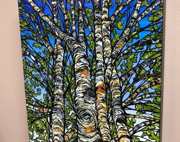 """Birch Cluster 8x10"""" Original Acrylic Painting by Tracy Levesque"""