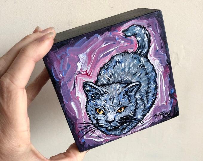 "4x4"" Mischievous Cat Original Acrylic Painting by Tracy Lévesque"