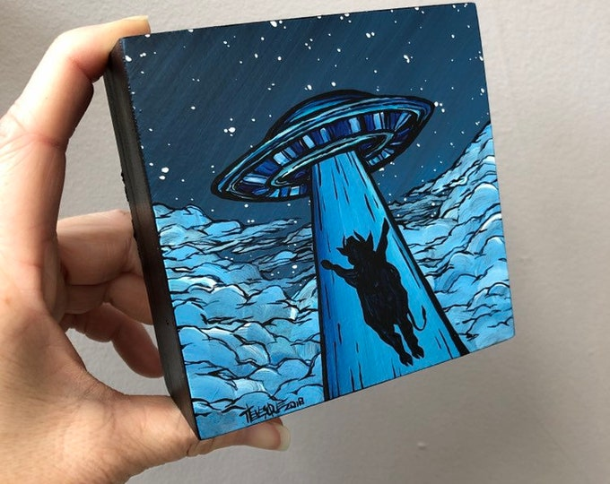"4x4"" One of a kind UFO Cow Abduction painting by Tracy Levesque"