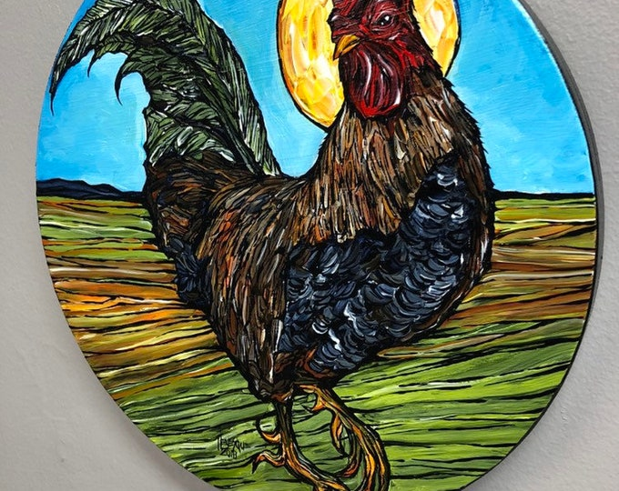 "Morning Glory Rooster 8"" Round Original Acrylic Painting by Tracy Levesque"