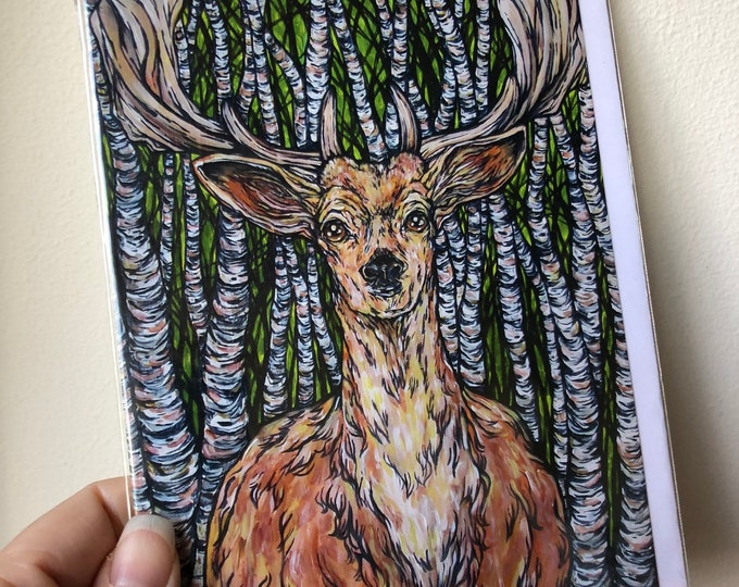 "5x7"" Blank Greeting Card Deer Birch Tree Great Outdoors featuring artwork by Tracy Levesque"