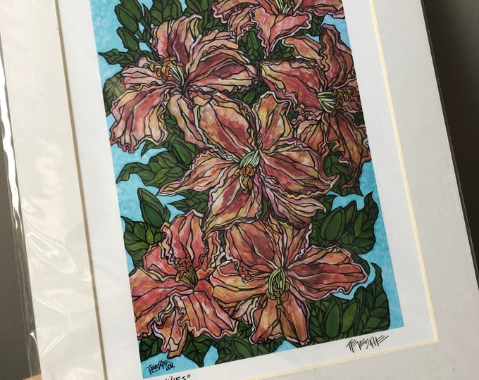 "Day lilies 11x14"" matted giclee print by Tracy Levesque (print size is approximately 8x10"" inside 11x14"" mat)"