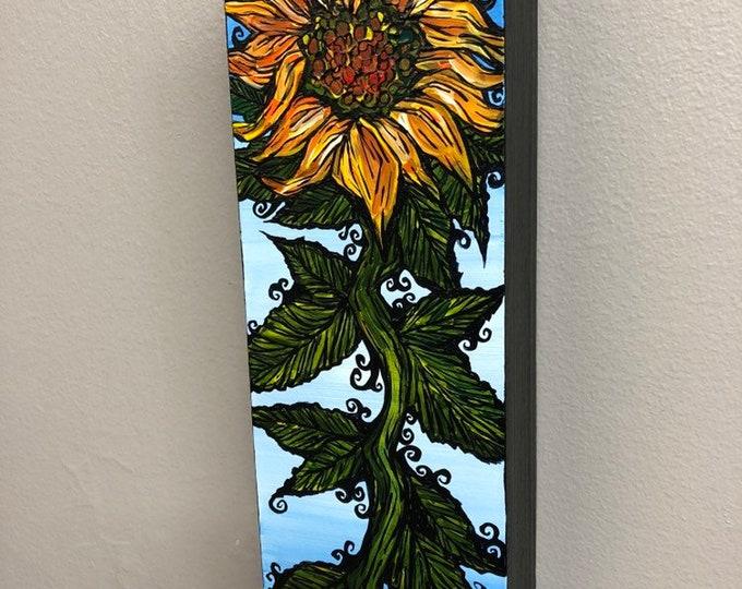 "Stylish Sunflower 3x9"" Original Acrylic Painting by Tracy Levesque"