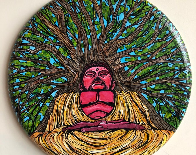 "Bodhi Tree 20"" Round Original Acrylic Painting by Tracy Lévesque"