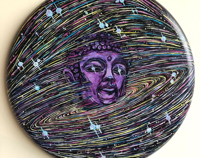 "Expansive Mind Buddha Universe 20"" Round Original Acrylic Painting by Tracy Lévesque"