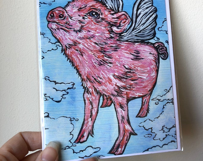 "5x7"" Flying Pig greeting cards featuring artwork by Tracy Levesque"
