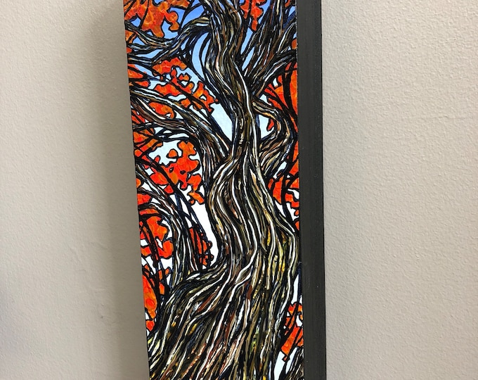 Long Japanese Maple Tree, original acrylic painting on wood by Tracy Levesque