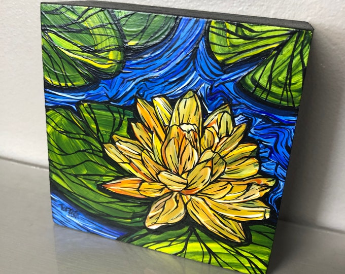 "Lucky Lotus 4x4"" original acrylic painting by Tracy Levesque"