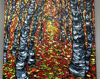 """Birch Mosaic 24x30"""" original acrylic painting by Tracy Levesque"""