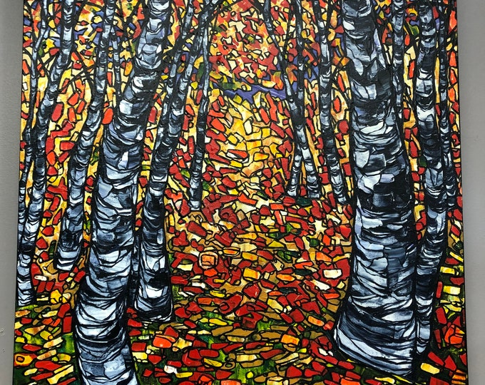 "Birch Mosaic 24x30"" original acrylic painting by Tracy Levesque"