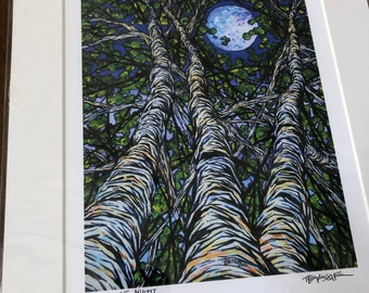"""Birches at Night 11x14"""" matted giclee print by Tracy Levesque (print size is approximately 8x10"""" inside 11x14"""" mat)"""