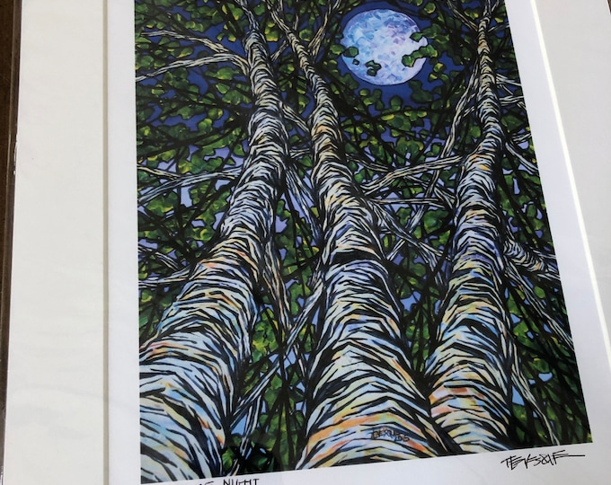 "Birches at Night 11x14"" matted giclee print by Tracy Levesque (print size is approximately 8x10"" inside 11x14"" mat)"