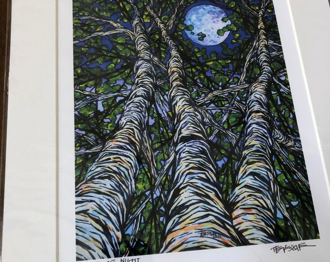 "Birches at Night 11x14"" matted giclee print by Tracy Levesque"