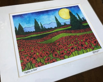 "11x14"" Poppies in Field Matted Giclee Print by Tracy Levesque (print size is approximately 8x10"" inside 11x14"" mat)"