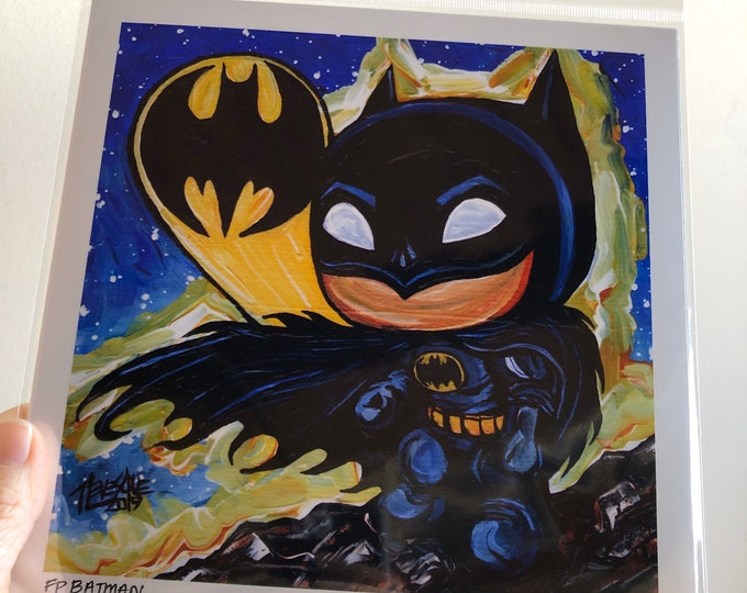 "8x8"" Batman metallic photographic print with artwork by Tracy Levesque"
