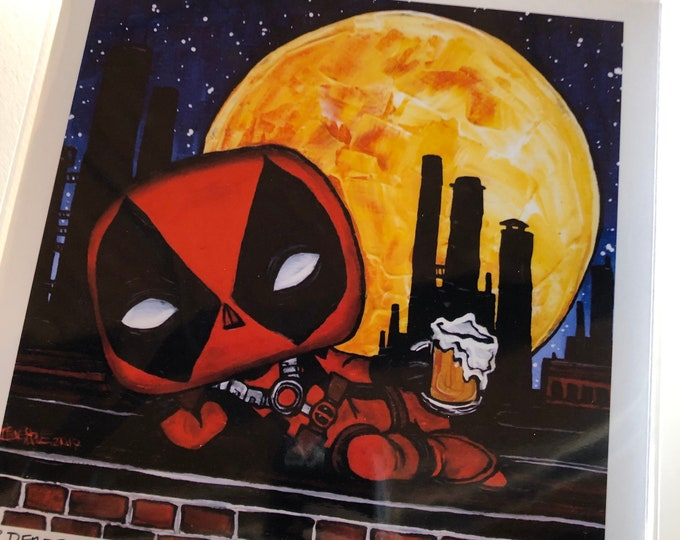 "8x8"" Deadpool metallic photographic print with artwork by Tracy Levesque"
