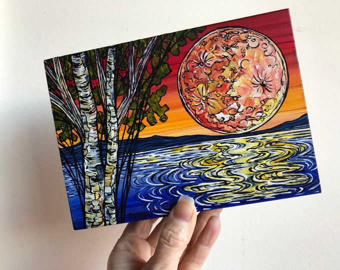 "Featured listing image: 5x7"" Full Moon over the Water Birch Tree Sunset original acrylic painting by Tracy Levesque"